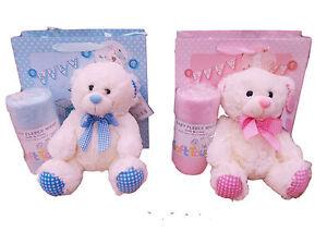 NEU mit Etikett Neugeborenes Baby Jungen oder Mädchen Teddybär und Decke in