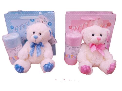 BNWT New Born Baby boys or girls teddy bear and blanket in gift bag present