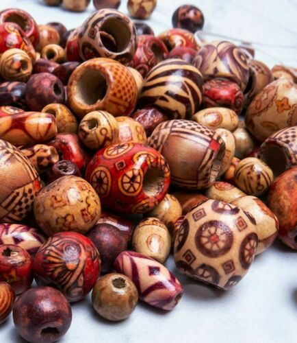 50 Assorted Wood Beads Painted Macrame Craft Bulk Mix Sizes Lot Set