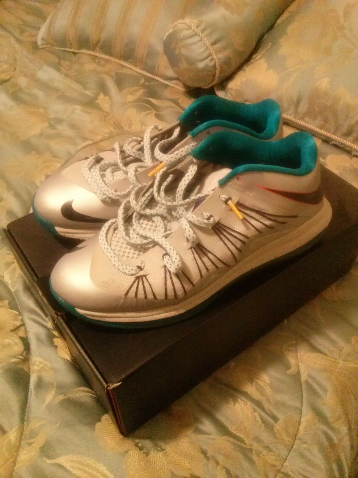 Men's Silver And Turquoise Lebron X Low Size 10.5