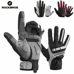 RockBros Cycling Outdoor Sports Long Full Finger Touch Screen Gloves Red