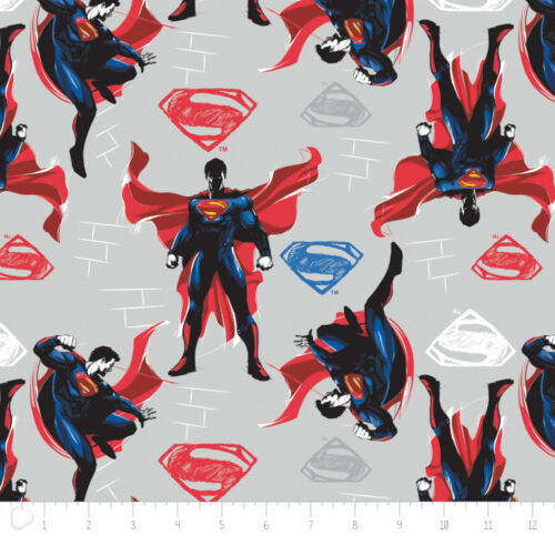 Batman Vs Superman Light grey Camelot 100/% cotton Fabric by the yard