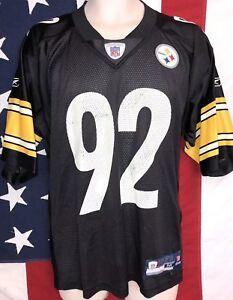 a0af79f6b62 Image is loading Reebok-NFL-Equipment-Pittsburgh-Steelers-JAMES-HARRISON -Black-