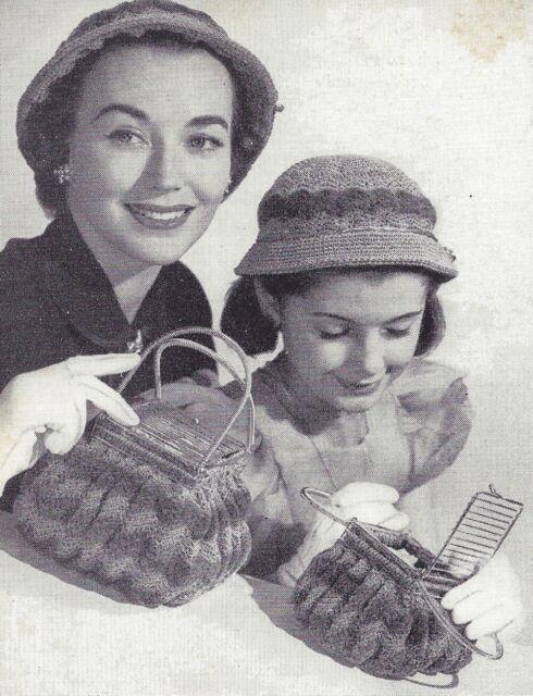 Vintage Crochet PATTERN to make Mother Daughter Sm Lg Headband Hat Purse Handbag