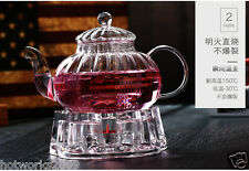 600ml Clear Glass Tea Maker TEA POT Pumpkin Shaped Glass Teapot with Infuser/Lid