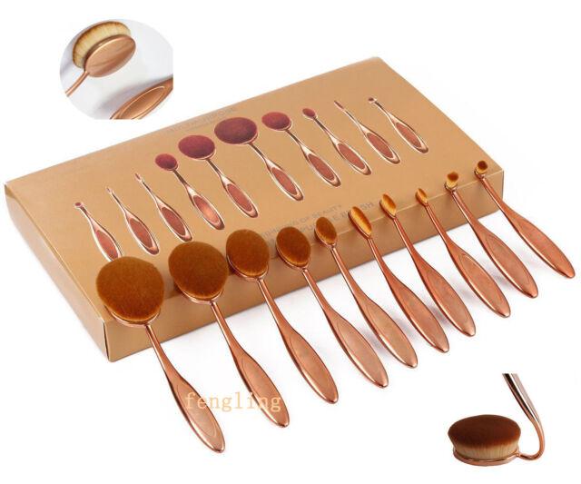 Rose Gold Toothbrush Elite Oval Make up Brushes Set Powder Foundation Contour