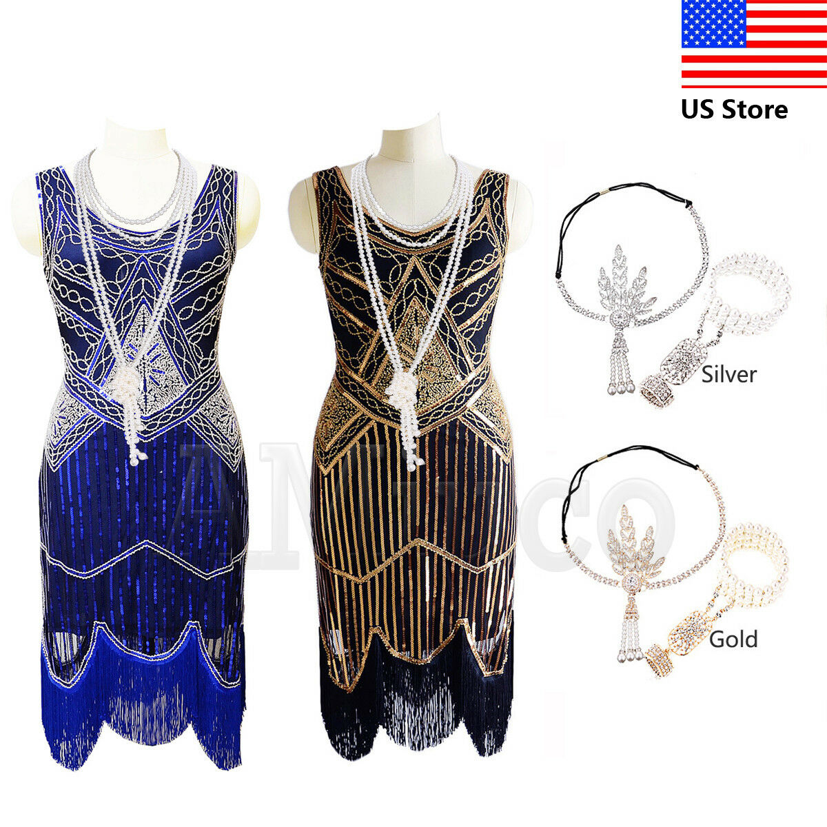 1920s Dress Vintage Flapper Roaring 20s Dresses Great Gatsby Fringe Tassels Gown