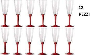 Accurato 12pezzi Flutes Calici Bicchieri Gambo Rosso Cc100 Festa Party Aperitivo Spumante