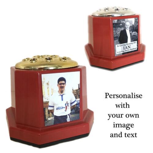 Custom Tribute Any Photo /& Text Personalised Memorial Grave Flower Vase /& Pot