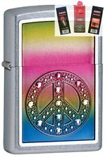 Zippo 24898 peace for all Lighter + FUEL FLINT & WICK GIFT SET