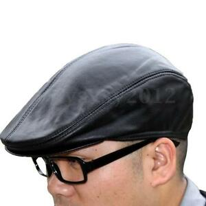 Details about UK New Unisex Men Women Black Leather Peaked Flat Cap Gatsby  Newsboy Driving Hat 14dcf688131