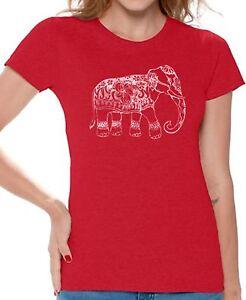 9e74398993 Elephant Indian Pattern T shirts Shirts Top for Women Women's Lucky ...