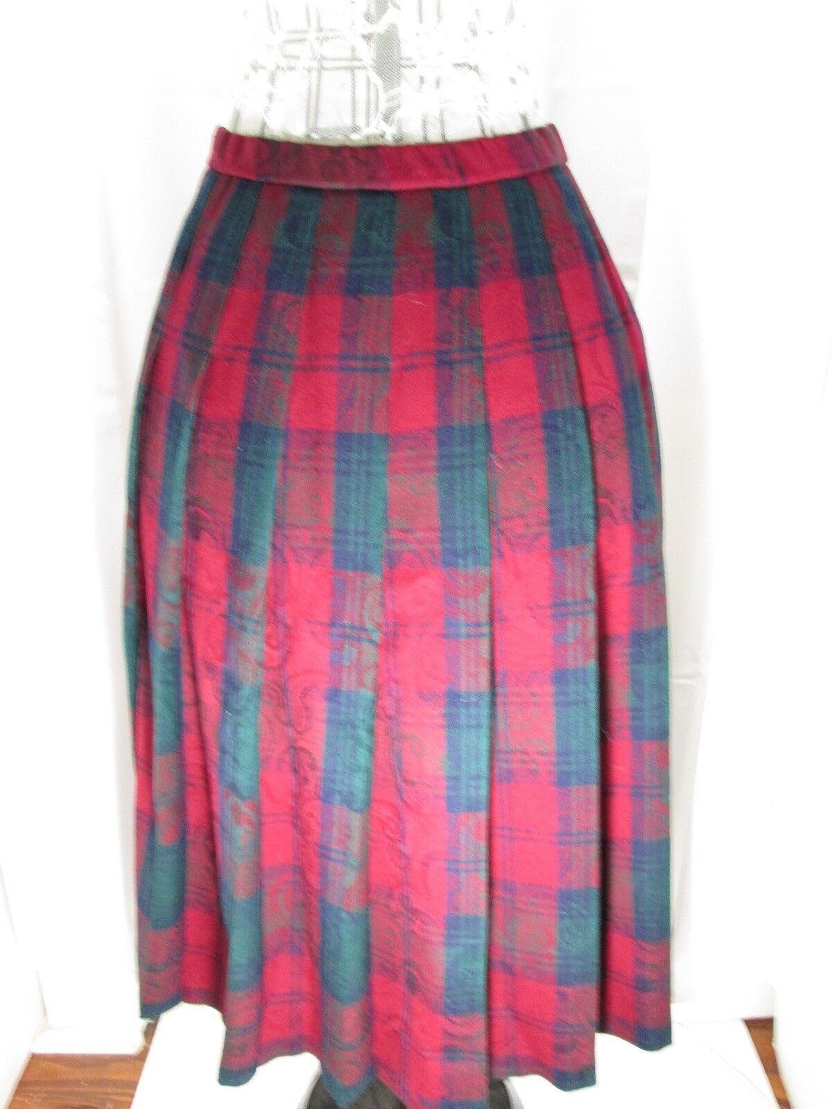 Pendleton Skirt Virgin Wool Pleated Red Green Paisley Print Plaid Unlined 8P