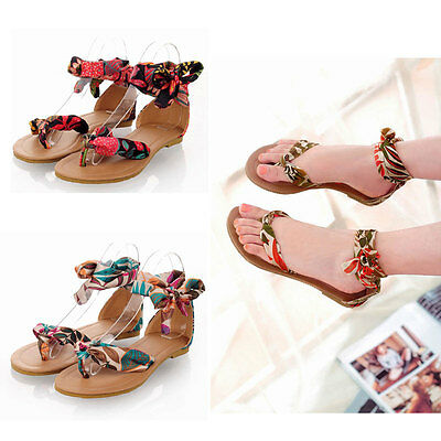 Fashion Womens Flip Flops Cute Summer Braided Floral Flats Sandals Thong Shoes