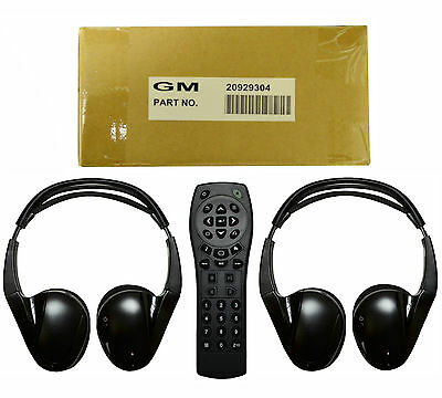 2 New Oem Gm 2 Channel Ir Fold Flat Headphones Headset + Dvd Remote Tv Rear