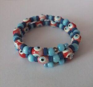 NEW-Evil-Eye-Bangle-Bracelet-Blue-amp-Red-Beads-Jewellery-Girls-Kids-Womens-Gift