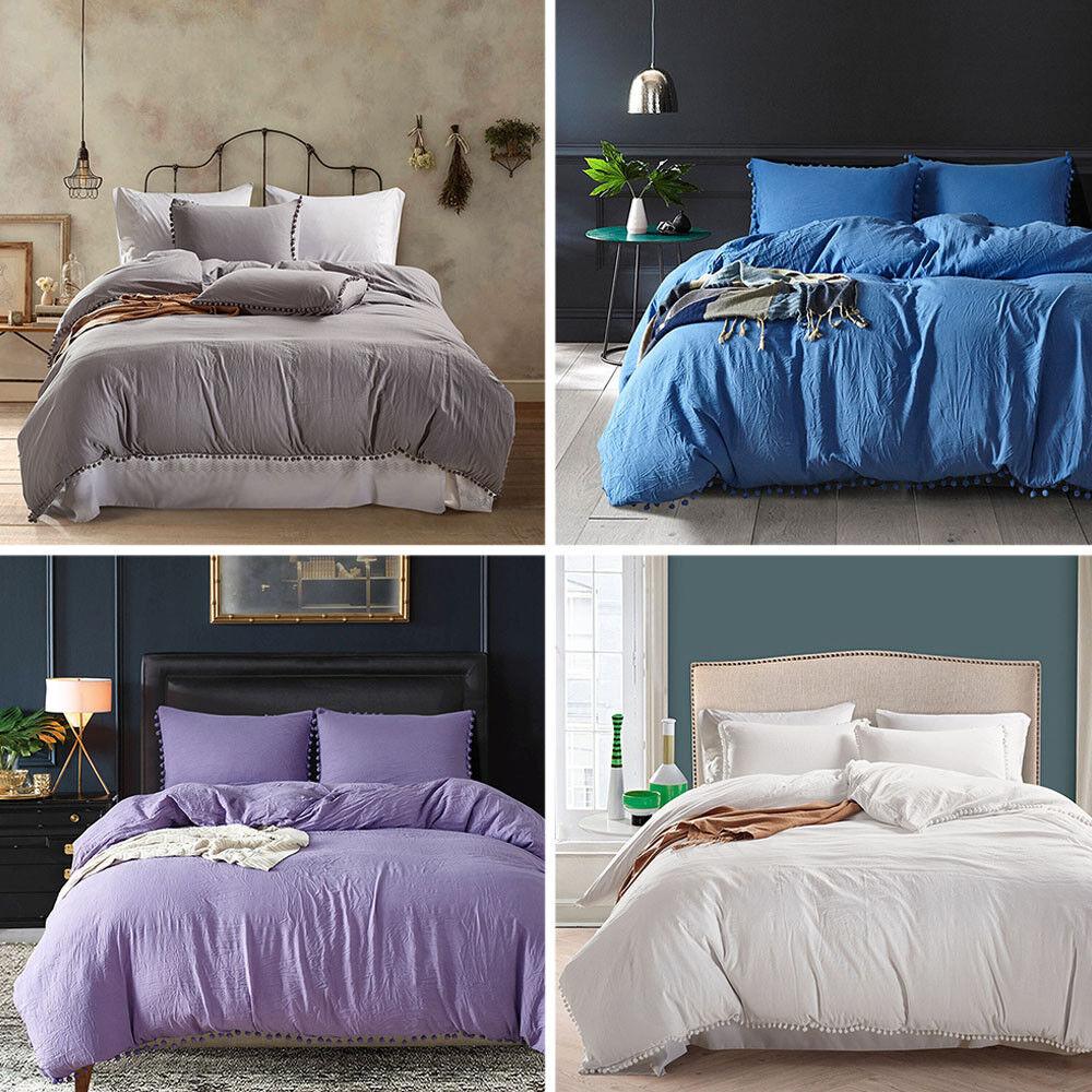 3PCS  King Queen Twin Duvet Cover Bedding Set Pillowcase   color Bed Sheet