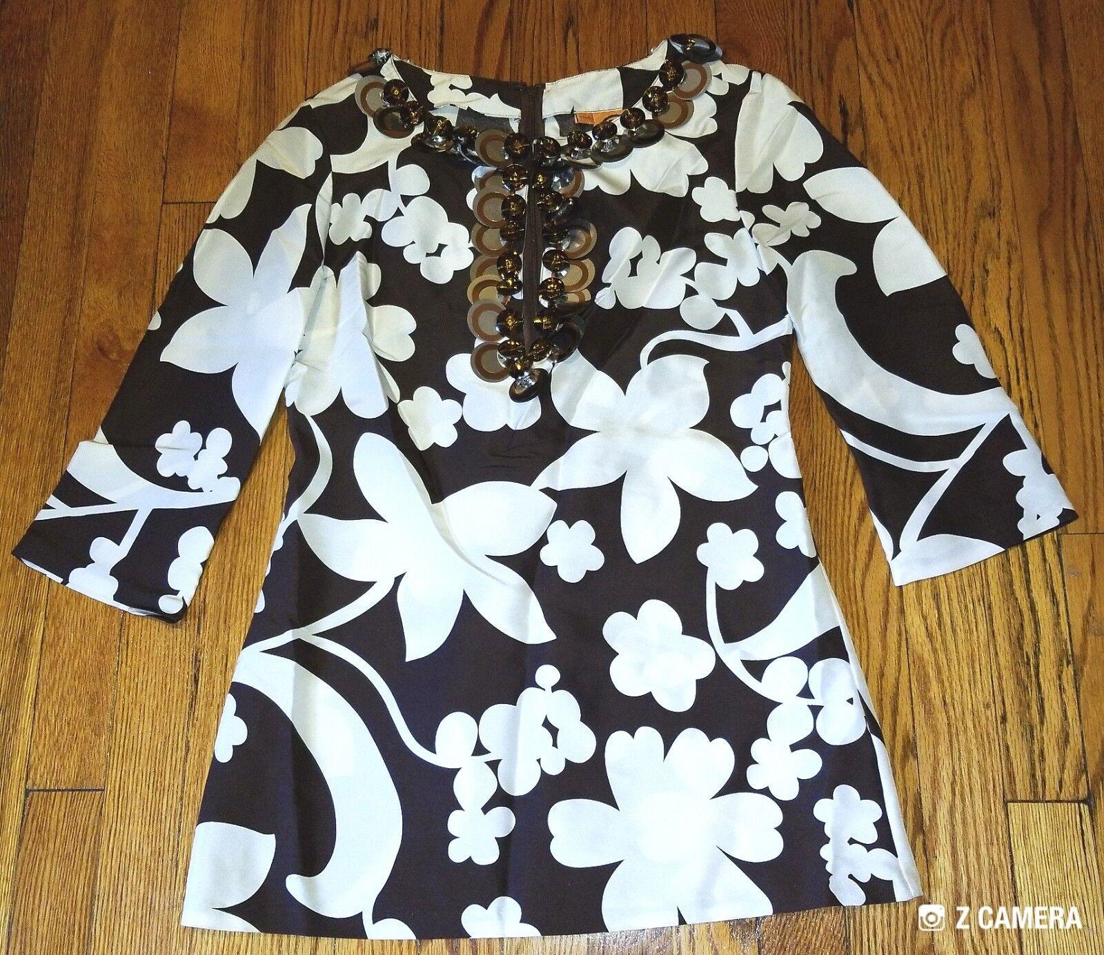 Tory Burch braun and Weiß Accented Silk Shirt Größe 2