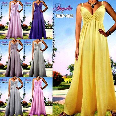 NEW Angela Plain Evening Cocktail Long Women Maxi Dress Size Plus 8-22 M-XXL UK