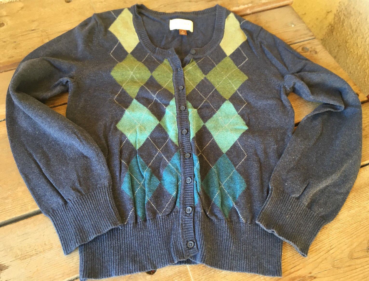 Sonoma Life Style Argyle Cardigan Medium M Cotton Navy Green Aqua bluee Womens