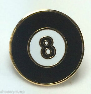 POOL 8 BALL BILLIARDS NOVELTY LAPEL PIN BADGE 1 INCH