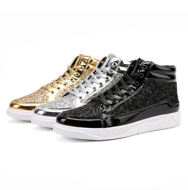 Mens High Top Board Sequins Patent Leather Sneakers Lace up Vintage shoes