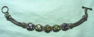 BA-INDONESIA-Sterling-Silver-Bracelet-w-Amethyst-Citrine-Peridot-38-5-grams-8-034