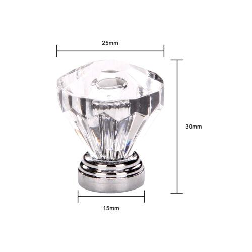New 12x Clear Diamond Crystal Glass Door Knobs Drawer Wardrobe Cabinet Handles