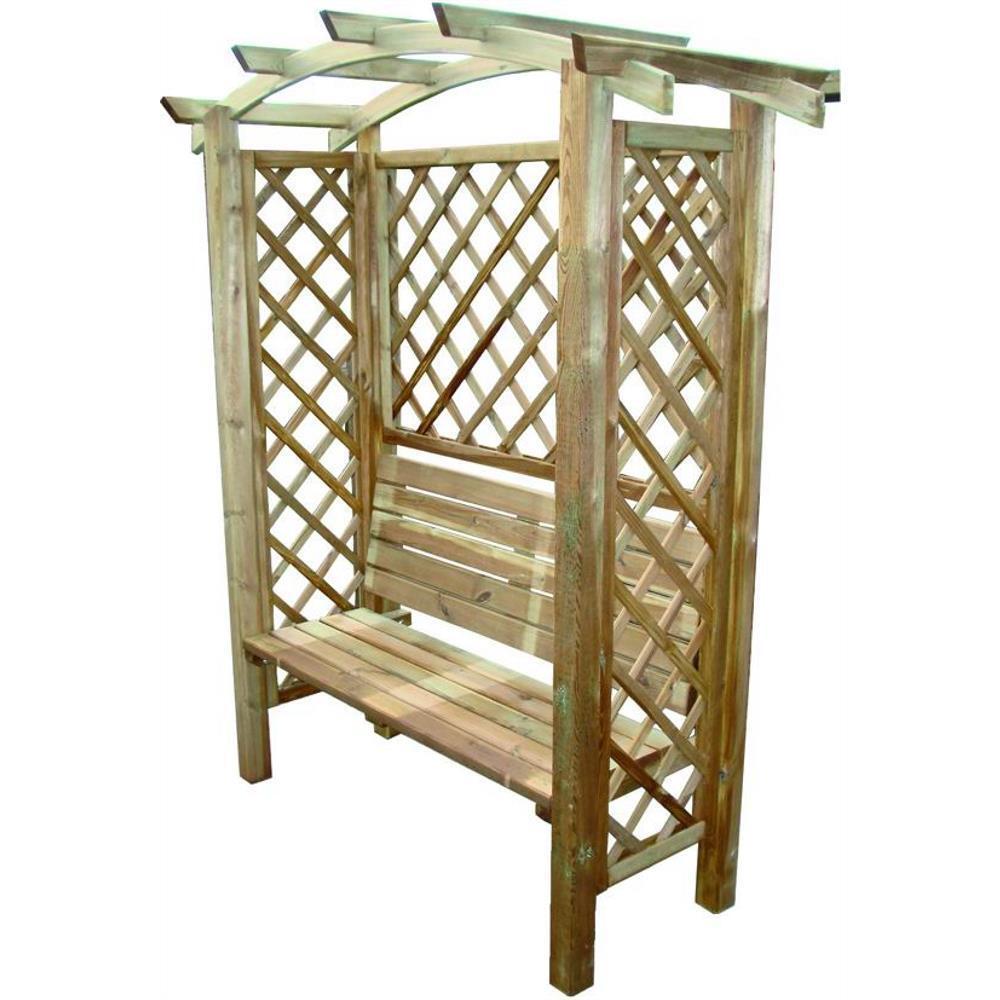 Pergola aus Holz mit Sitzbank Holz Blinky Modell Arco-Bank 160X70x190