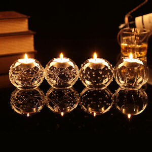 Clear Glass Round Ball Tealight Candle Holder Candlestick