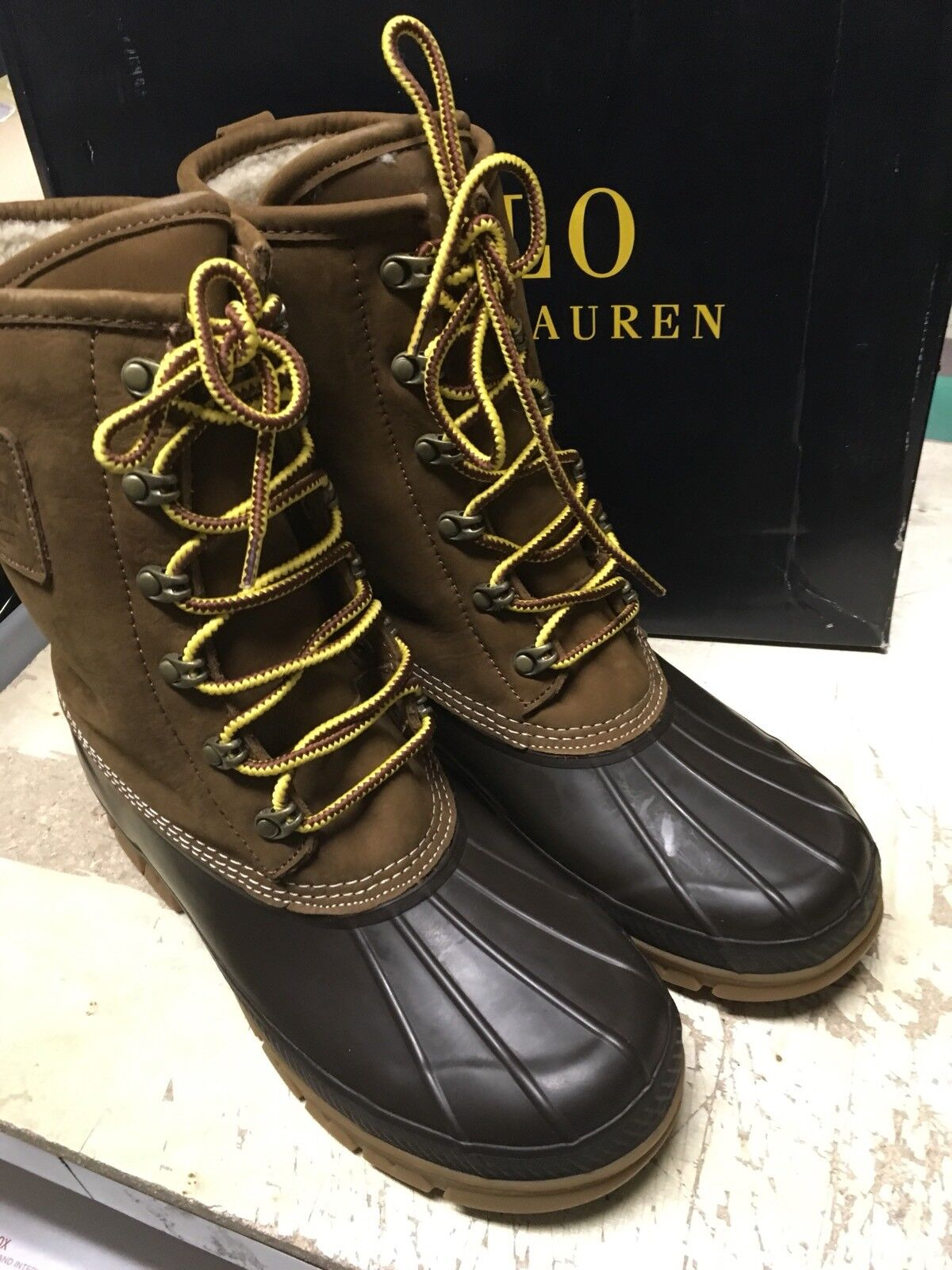 DS MENS Boot Polo Ralph Lauren Romford Boot MENS SHEARLING LINED SNUFF NATURAL SZ 8 b78f6e