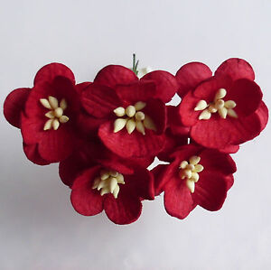 5 x mulberry paper flowers cherry blossoms paper craft flower image is loading 5 x mulberry paper flowers cherry blossoms paper mightylinksfo