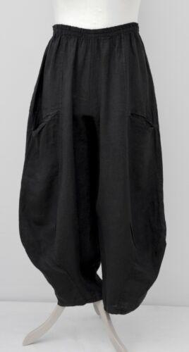 Lagenlook Lino Oversize 2 tasche Palloncino Harem Pantaloni//Pants ** Nero ** XL-XXL