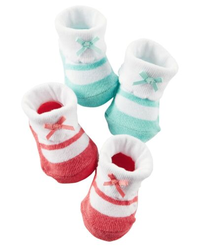 New Carter/'s 2 Pack Pink and Mint Mary Jane Style Booties Socks size Newborn