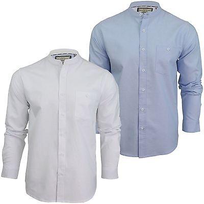 Mens Shirt Brave Soul Augustus Long Sleeve Oxford Cotton Grandad Collar S-XL