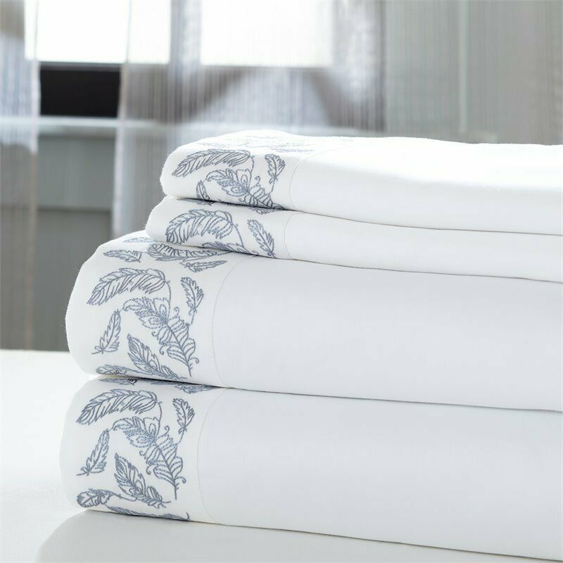 4-Piece sheet set Feather White with blueeeee embroidered hem Cal King