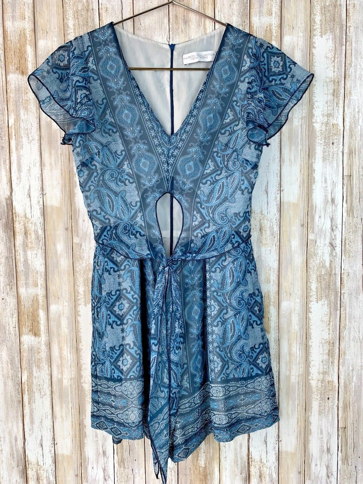 200 Allison Collection New York bluee Paisley Romper Tie Front Cut Out S Small