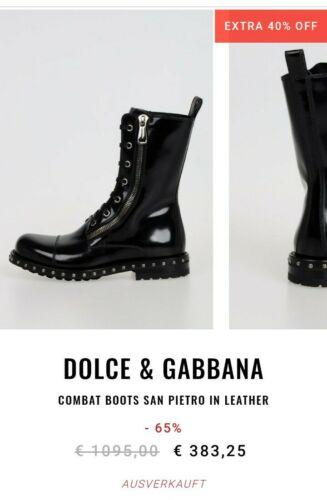 Dolce & Gabbana, Combat Boots San Pietro, cuero, talla 36, negro, de lujo, como nuevo