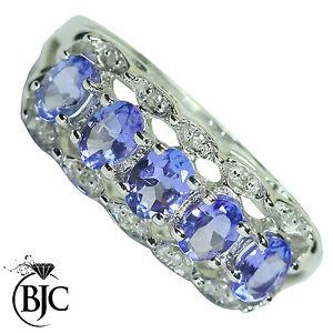 BJC-9-ct-Oro-blanco-Tanzanita-Y-Diamante-tamano-K-1-2-anillo-de-vestir-R28