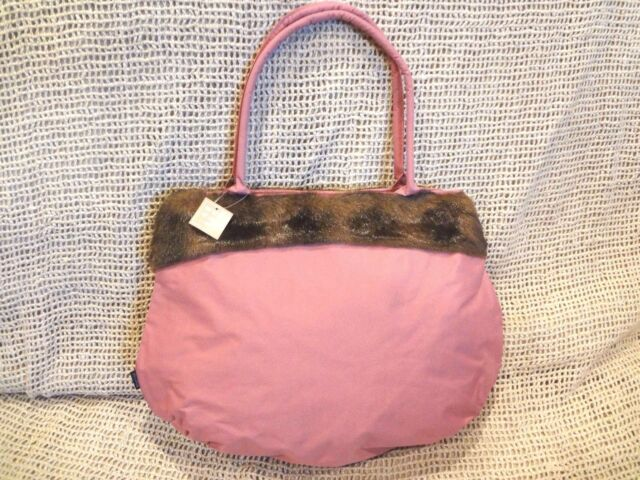 MURVAL DUSTY PINK FAUX FUR TRIMMED DOUBLE HANDLE TOTE PURSE ~ New with Tag 7f9d6076254b2