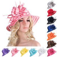 A214 Floppy Hat Floral Brim Womens Folding Summer Sun Beach Polyester Derby Hat