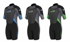 MENS GREEN/BLACK SHORTY wetsuit  chest size 34 inches small NEOPRENE