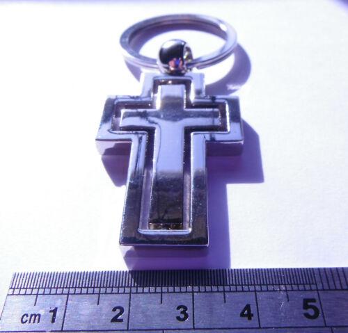 Chrome Metal Cross Keyring Spin Inner Cross Gift Boxed BRAND NEW