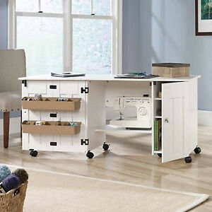 Image Is Loading Sewing Table With Storage Craft Desk Drop Leaf