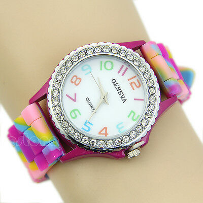 Women's Stylish Multicolor Silicone Geneva Crystal Diamante Chic Wristwatches