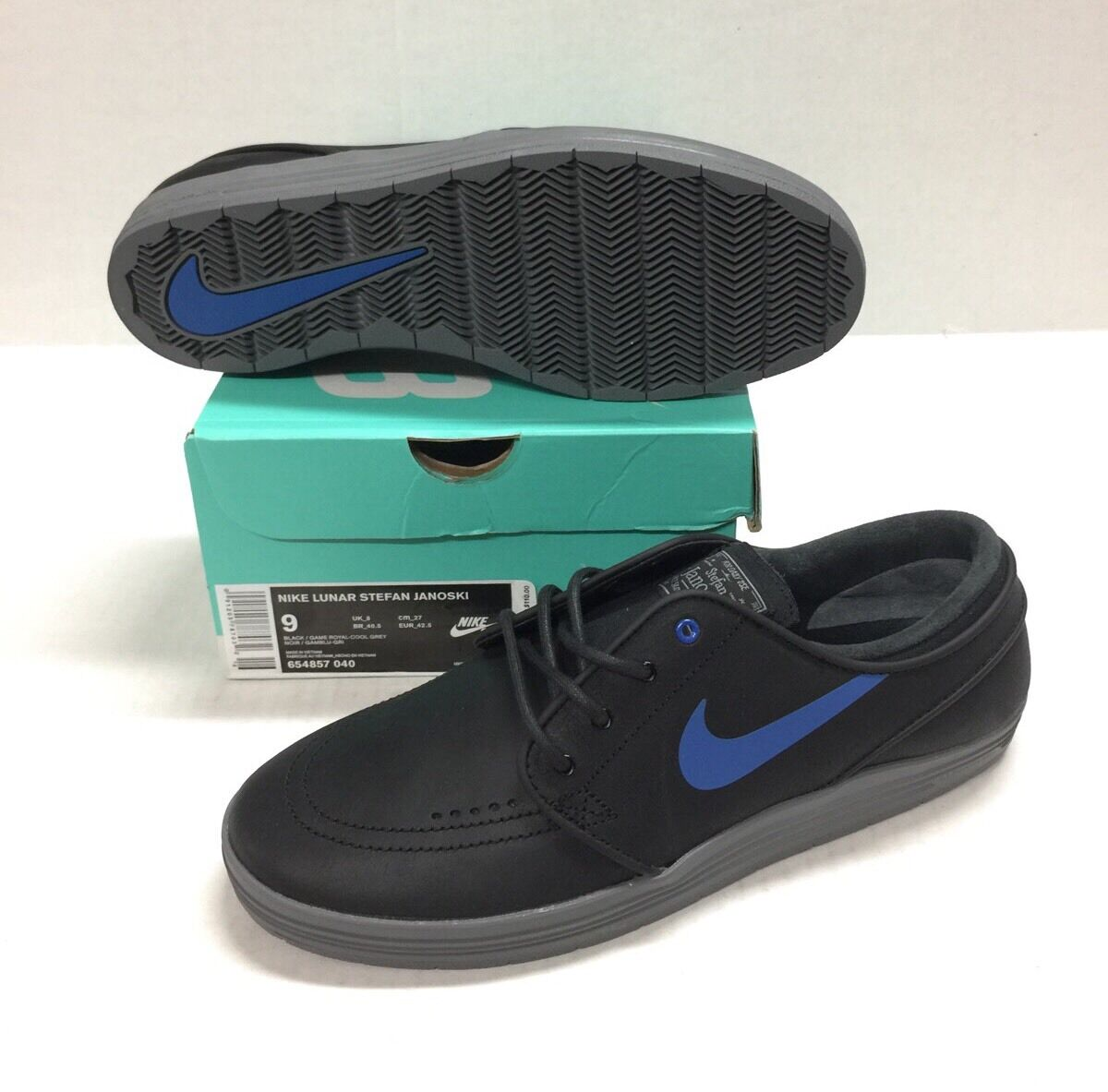 NIKE SB LUNAR STEFAN ROYAL-COOL JANOSKI BLACK / GAME ROYAL-COOL STEFAN GREY  NEW 190720