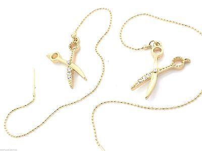 """New Threaded Earrings Gold Plated SCISSORS SHEARS Threader Dangles 3"""" Crystal"""