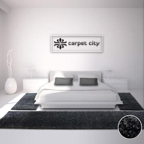 Uni-Shaggy Teppich Bettumrandung Hochflor Einfarbig Schwarz Öko Tex
