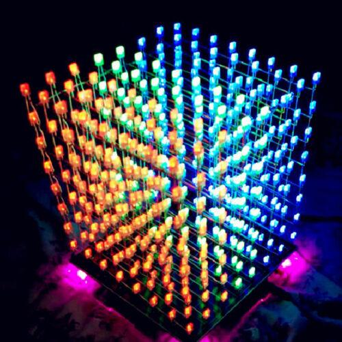 3D LED Lichtwürfel 8x8x8 Cube MP3 ektronisch Würfel Lampe DIY Kit