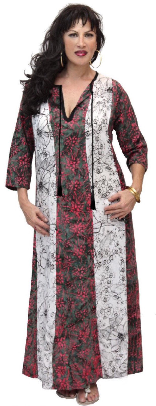 Grün Rosa Weiß caftan dress lounge tassel style OS M L XL 1X 2X